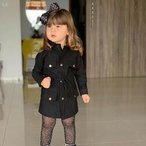 Cappotto invernale Baby Girls Giacca 2019 Bambini Ragazze manica lunga inverno inverno tuta sportiva tuta sportiva a risvolto a collo di corno moda Bambini a vento