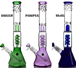 Helix coil beaker bong purple percolator with down stems and bowl glass bong recycler oil rigs dab rig bongs water pipe smoking pipes