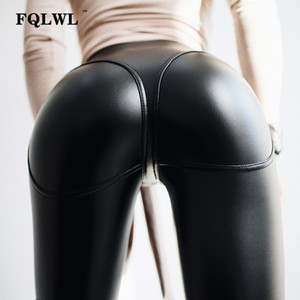 FQLWL Sexy PU Leather Pants Women Trousers Black High Waist Pants Female Hip Push Up Stretch Skinny Pencil Ladies Leggings