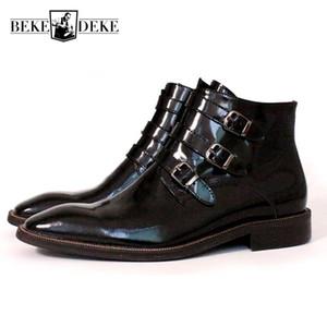 Italie main des hommes de piste peinture Bottes cheville Boucle Bureau officiel de sécurité du travail Chaussures en cuir véritable carré Toes Bottes