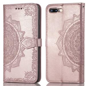 Custodia in rilievo per carta di credito Mandala con porta carte di credito per iPhone XR XS Max X 8 7 6 e Samsung Galaxy Note 9 8 S8 S9 S6 S7 Edge Plus