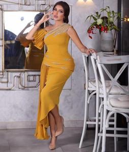 Atractivo de la sirena vestidos de baile largo un lateral abierto Listones plisados acanalada vestidos de noche formales de los vestidos del partido ogstuff Abendkleider