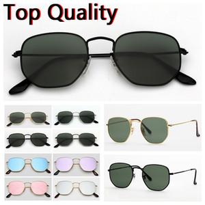 Gafas de sol para hombre gafas de vidrio hexagonales planas diseñadas para hombres, mujeres, hombres, gafas de sol femeninas con estuche marrón o negro, tela, caja de papel, accesorios