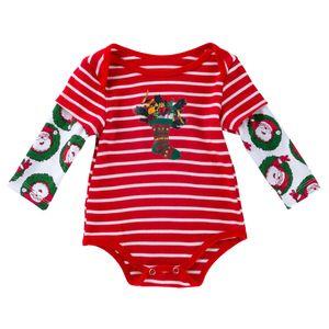 2 colores INS Navidad del bebé algodón Romper Red Stripe Santa Claus de Navidad calcetines larga impresa ropa de la manga de Navidad ropa del niño