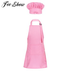 2Pcs Unisex Kids Boys Girls Adjustable Apron and Chef Hat Set for Kitchen Cooking Baking Painting Training Wear