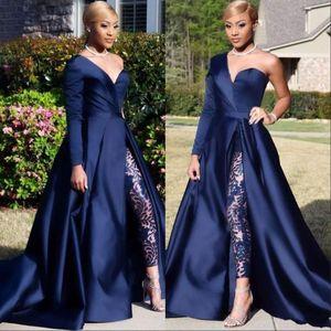 Royal Blue African Jumpsuits Abendkleider eine Schulter Front Side Slit Pantsuit Abendkleider Partei-Kleid