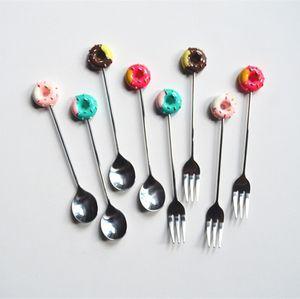 Cartoon Dessert torta Forche in acciaio inox Donut cucchiaino da caffè Stir di tè gelato Cucchiaio Cucina Posate Donut Forks Spoon BH2790 TQQ