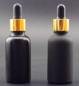 30 мл стеклянная бутылка капельницы 1 унция круглый матовый прозрачный / янтарный / синий / зеленый / черный матовый для vape e жидкость духи эфирное масло белое золото серебряный колпачок