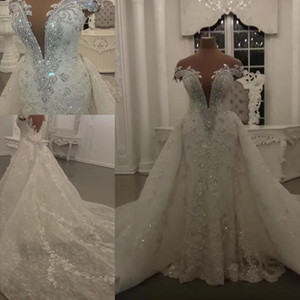 2020 vestiti modesti sirena cerimonia nuziale con cristalli staccabile Gonna brillante Paillettes Perline Appliques Sheer collo lungo Backless Abiti da sposa