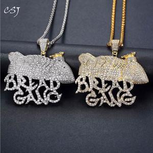 Charme Cor CSJ Hip Hop Colar Pingente Bling para fora congelado CZ Pão Gang Moneybag Crown Gold Silver HipHop / Punk Jóias