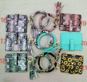 Bangle Bracelet Card Bag Wallet Keychain Wristlet Keyring Leopard Handbag Bracelet Keychain Credit Card holder Wth Tassel Favor DA537