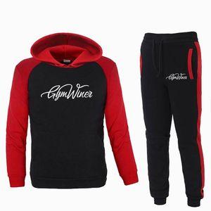 Pullover Imposta Uomini Tute palestra Winer con cappuccio Pantaloni Uomo Abbigliamento sportivo Felpa maschile tute da jogging Sweatpant 2 Pz