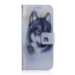 Etui portefeuille pour LG G8 THINQ Couverture de Filp motif coloré Loup tigre lion hibou chien avec fente pour carte Design pour LG G8S THINQ