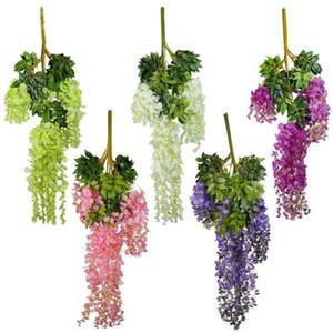 12pcs 105 centímetros Artificial Silk Wisteria Vine plantas suspensas para pendurar Festa Casamento Casa Garden Decoração decorativa Flores