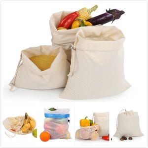 New Prático reutilizável sShopping sacola reutilizável lavável Sólidos cordão Início Outdoor Compras Malha saco de armazenamento sacos