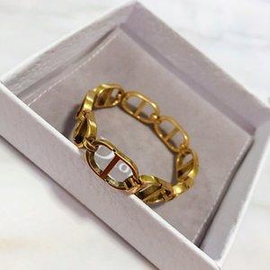di design di lusso delle donne dei braccialetti braccialetto grossa catena d'oro con la lettera D braccialetto RAME MENS e collana anelli retro vestito