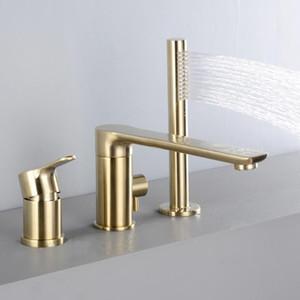 럭셔리 골드 마침 뜨거운 콜드 라운드 샤워 꼭지 세트 3 4 구멍 설치 샤워 꼭지 데크 장착 된 욕조 샤워 믹서