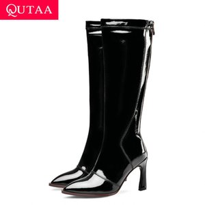 QUTAA 2020 Мода Натуральная Кожа Молния Осень Зима Женская Обувь Сексуальное Копыто Высокий Каблук Острым Носом Колено Высокие Сапоги Размер 34-43