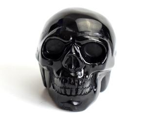 1.9 inç doğal çakra siyah obsidyen oyma kristal reiki şifa gerçekçi insan kafatası modeli feng shui heykeli bir kadife kese