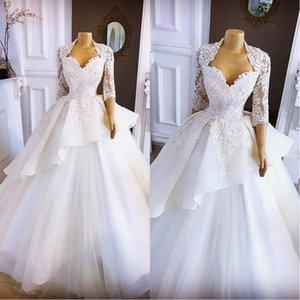 2020 White Beach Piano Lunghezza cerimonia nuziale del manicotto di Applique Abiti Sweetheart mezza da sposa in pizzo abiti Strati Ruffles abito da sposa