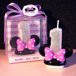 Figura cumpleaños Número Vela rosa bowknot Mick Minie Vela niña del cabrito del niño del cumpleaños de la decoración hecha a mano Aniversario Vela Perfume
