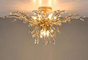 LED lámpara de luz accesorios cristalina del hierro luces de techo 9 Heads Up / Down Light Negro / Bronce Lámparas Lámparas Decoración Americana Village