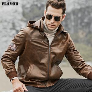 Flavor Мужского натуральной кожи куртка мужчины Pigskin мотоцикл кожаное пальто с съемным капюшоном
