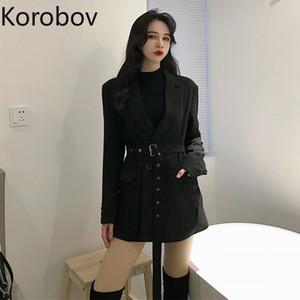 Коробов 2019 Новое поступление Vogue Sashhes Черный длинный пиджак Свободные повседневные длинные рукава с одной кнопкой Карманы пиджаки Femme 77804