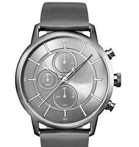 2019 nuevo envío del modelo nuevo libre de los hombres de cuero de Dial de plata de la moda clásica banda de reloj - 1513570