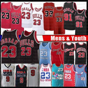 Chicago 23 Michael Bulls Basketbol Jersey MJ Scottie 33 Pippen Dennis Rodman 91 Tar Heel NCAA North Carolina State University Erkek Gençlik