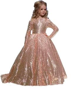 Dit Mhamad Gold Princess Flower robes 'Girls Tutu 2019 Toddler Little Girls Pageant Communion Dress En Stock Pas Cher Enfants Formelle