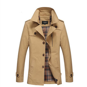 Men Spring Business Casual Trench Coat Jacket Men Brand Fashion Long Sleeve Cotton Solid Washed Trench Coat for Men
