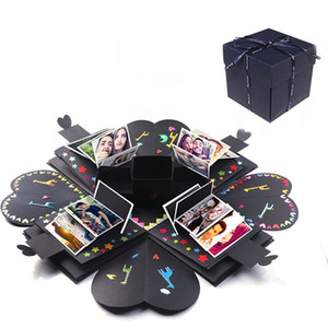 Bricolage Surprise Amour Explosion Boîte Cadeau Explosion pour Anniversaire Scrapbook Bricolage Photo Album anniversaire Emballage Cadeau Fini boîte 6 couleur XD21302