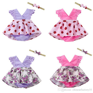 Baby Girl Flower Dresses Lace Kids Designer Clothes Girls Free Headband 2019 Summer Beach Princess Dresses 4 colors