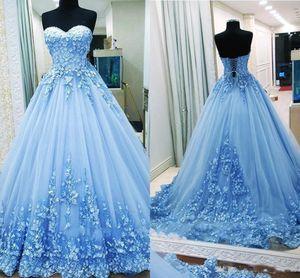 Vimtage 볼 가운 댄스 파티 드레스 연인 아플리케 명주 등이없는 붕대 라이트 블루 이브닝 가운 성인식 드레스 달콤한 16 드레스