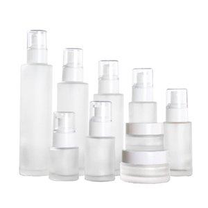 20ml 30ml 40ml 60ml 80ml 100ml 120ml de vidro fosco Cosmetic frasco da loção Bomba garrafa reutilizável líquido spray de perfume garrafas DBC BH3749