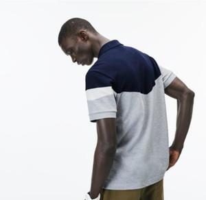 Crocodilo dos homens do desenhista Polo Lapel manga curta no pescoço Striped Impresso Mens Polo Casual adolescente Tees