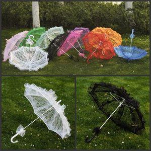 Романтический женщин свадебные Зонтик для новобрачных кружева чистого цвета длинные ручки искусства зонты подходят танцевальную вечеринку украшения Фото опора 13ff Е1