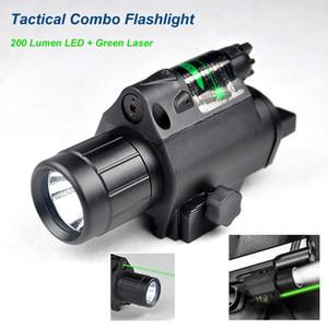 새로운 3W 200 루멘 LED 전술 콤보 손전등 녹색 레이저 빔 20mm 피카 티니 레일 마운트 및 꼬리 라인 스위치를 강화.