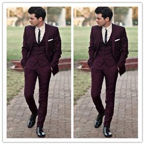 Erkekler Ucuz Ceket Yelek Ve Pantolon Damat Suit Üç adet Balo Suits için Yakışıklı Burgonya Düğün Smokin Slim Fit Suits