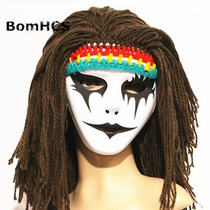 BomHCS Funny Halloween Crazy Horror Mask + Wigs Beanie Handmade Knitted Winter Thick Hat Cap Party Gift T200703