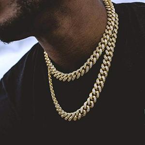 12mm 14k banhado a ouro full gelado fora zircon laboratório diamante cão grande miami mens cuban choker link cadeia colar