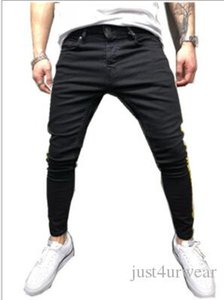 Mens Fashion High Street Slim Jeans Pantalons Crayon Side motif à rayures Jeans délavé Homme Pantalon Hip Hop Denim