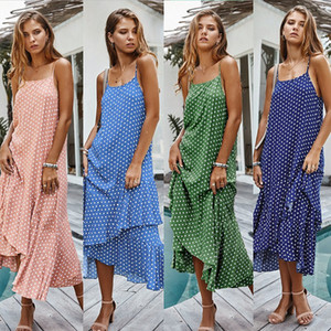2020 suspender polka dot dress bohemian ruffled holiday womens clothe designer ladies evening dress sexy lace halter backless suspender skir