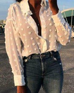 Billig Wholesale 2020 Frauen-beiläufige Hemden Wolle-Kugel Blusen des neuen Frühlings-Langarm Umlegekragen Shirt Lady Pure Color Blusen