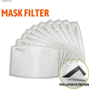 PM2.5 Filter for Mask Replaceable Filter 5 Layers Non-woven Activated Carbon Filters Mouth Masks Filters Outdoor Protective In Stock