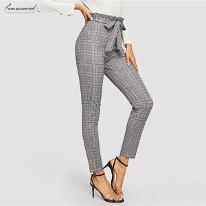 Gris taille Plaid Pantalon cigarette taille haute ceinturée Crayon Pantalons Femmes Printemps Bureau Lady Casual Workwear Pantalons Paperbag