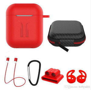 6 em um casos de silicone cobertura protectora para Ar Pods auscultadores tampa para o auricular com anti earhooks cinta perdidos também têm caso para i9s i10