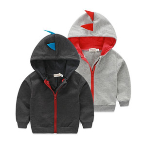 Dinosaur Kids Hoodies INS Zipper Baby Boy Coats Children Outdoor Sport Hooded Jackets Cute Kids Outfits Grey Black Optional DHW2268