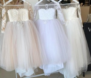 Long Sleeves Flower Girls' Dresses For Wedding Handmade Big Bow Sash Baby Child Birthday Party Gown First Communion Dress Cheap B12